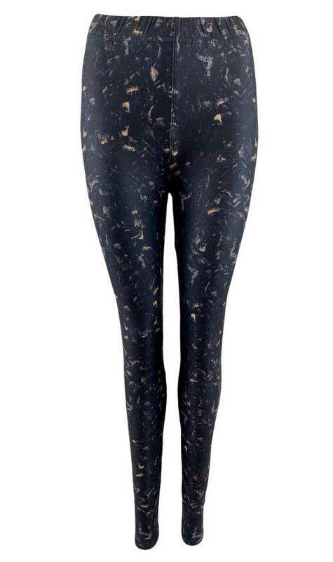 Black Colour MERLE Tie Dye Leggins Black 2220