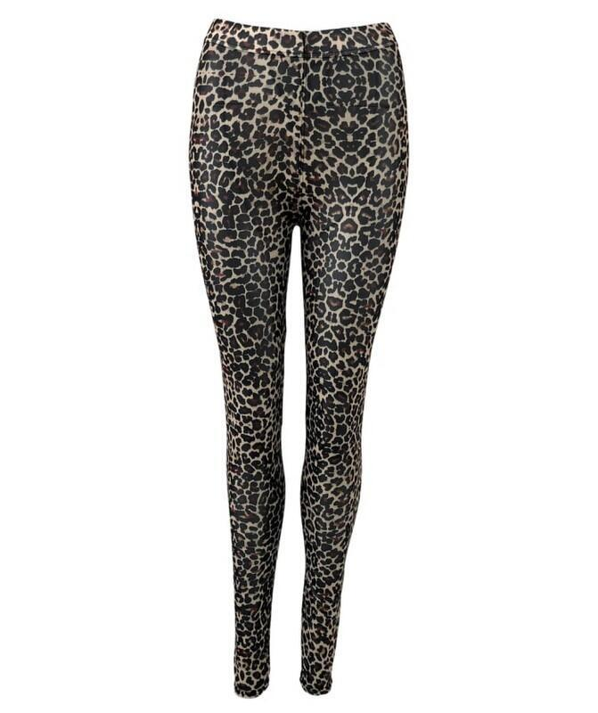 Black Colour ANNIE Mesh Leggings Brown Leo 2201